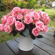 12-Head Rose Pink Artificial Fake Rose Silk Flower Wedding Party Bridal Bouquet