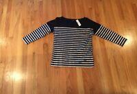 Women's J. Crew Striped Navy & Silver Shirt, Size XXS New With Tags