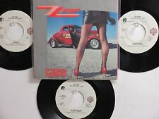LOT OF 4 ' ZZ TOP ' HIT 45's + 1PS[Legs/Bad Girl] [Boogie-Rock] THE 80's!