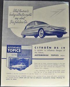 1956 Citroen DS19 Sedan What Experts Say Brochure Folder Nice Original 56