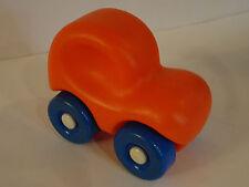Vintage LITTLE TIKES Smiley Orange Car Push Toy Chunky Round Top