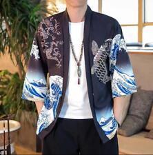 Uomo Kimono Cardigan Giacca Camicia Top Casual Fiori T Shirt