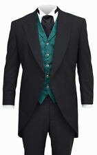 39 R Mens Black Cutaway Tuxedo Victorian Morning Coat Vintage Dickens Wedding TX