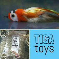 Percy Parrot realistic bird cattoy teaser & 5g Cat Nip set by Tiga Toys handmade