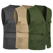 Men Slim Fit Cargo Vest Coat Multipocket Hunting Fishing Jacket Waistcoat L~3XL