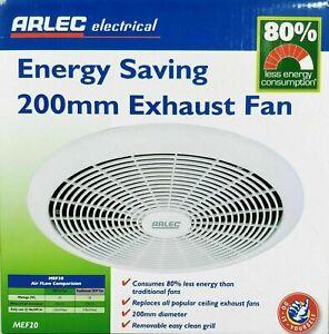 Arlec 200mm Energy Saving Exhaust Fan 240V Low Power Consumption 4.2W