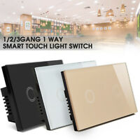 Smart Touch Light Switch Crystal Glass Panel Power Wall Control 1/2/3Gang