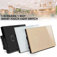 Smart Touch Light Switch Crystal Glass Panel Power Wall Control 1/2/3Gang 1Way