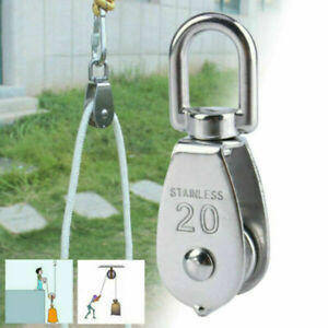 304 Stainless Steel Pully Single Wheel Swivel Pulley Block Lifting Rope 20mm Set