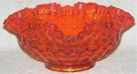 "Fenton Glass Thumbprint Orange Ruffled Edge 8"" Bowl"