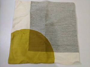 """West Elm Crewel Overlapping Shapes Pillow Cover 18x18"""" Stone Gray Yellow Return"""