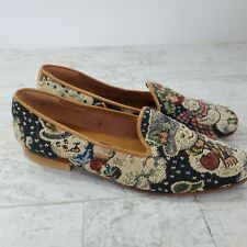 Zalo Tapestry Mr Mrs Snowman Loafers Holiday Shoes Womens 7M Made in Spain