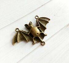 Large Bat Connector Pendant Antiqued Bronze Halloween Link Charm 47mm