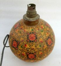 Vintage Old hand Made Floral Design Painting Work Royal Look Paper Mache Lamp
