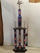 PATRIOTIC THEME MARTIAL ARTS TROPHY HUGE OVER 3 ft. TALL 3 POST DEN MAN CAVE