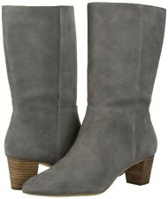 size 6 Lucky Brand Zaahira titanium gray suede leather womens mid calf boots NEW