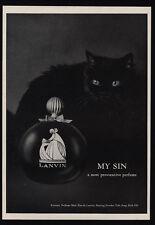 1966 LANVIN My Sin Perfume - Cute Black Cat - Provacative -VINTAGE ADVERTISEMENT