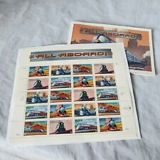 "1998 USPS Locomotive Trains Stamp Sheet ""All Aboard"" Plus 10 Stamped Postcards"