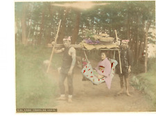 Japon, Kago traveling Chair  Vintage albumen print.  Tirage albuminé aquarellé