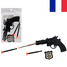 Pistolet à Flèches + 2 Fléchettes Ventouse + Badge Police Jouet pour Enfant Jeu