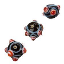 Sputnik Lampwork Noir & Rouge en verre ronde perles 16 mm Pack de 3 (B15/3)