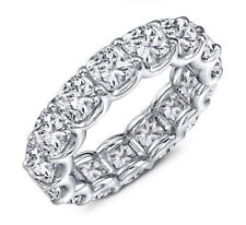 5ct Cushion Cut Diamond 14K white Gold Over Eternity Wedding band Cocktail Ring