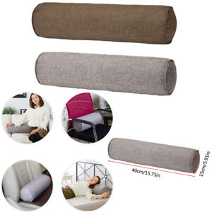 Round Orthopaedic Bolster Pillow Cotton Linen Travel Roll Neck Cushion Headrest