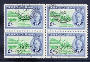 TURKS & CAICOS ISLANDS George VI 1950 SG231 2/- fine used - block of 4. Cat £18