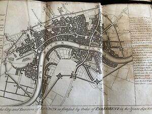 2 ANTIQUE MAPS OF LONDON PLAN OF CITY IN THE REIGN OF QUEEN ELIZABETH