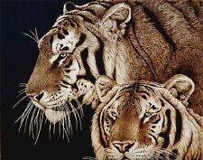 "ORIGINAL ANIMAL ART TIGERS/BIG CATS- DRAWING/PYROGRAPHY/WOODBURNING- ""TOGETHER"""