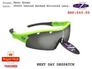 RayZor Green Sports Wrap Sunglasses Uv400 Vented Smoked Mirror Lens (220