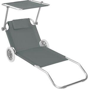 Chaise longue de plage jardin pliante transat bain de soleil toit aluminium gris