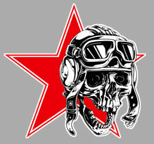 TETE DE MORT DRAPEAU URSS CCCP MIG SOVIET 9cm AUTOCOLLANT STICKER MOTO SC015