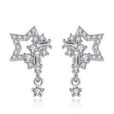 Korean 925 Sterling Silver Zirconia Pentagram Elegant Stud Earrings Lady Jewelry