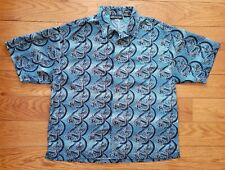 Vintage No Boundaries Dragon All Over Print Shirt Blue Polyester Button Up XL