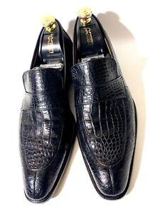 A.Testoni Black Crocodile Leather Loafers Shoes Size 45, UK-11, US-12