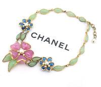 CHANEL Camellia Gripoix Stone Necklace Vintage w/BOX Very RARE v1324