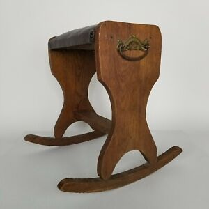 """Vintage Rocking Wood with Padded Seat Foot Stool Rest Gout Foot Rocker 16"""" Tall"""
