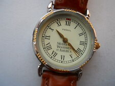 Fossil women's brown leather band.quartz,battery & Analog dress used watch..