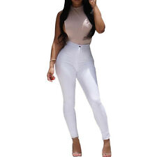 LADIES SKINNY SLIM FIT STRETCHY HIGH WAISTED JEANS PANTS PLAIN JEGGINGS TROUSERS
