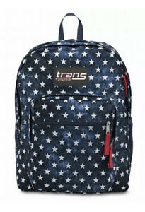 "Jansport Stars Backpack 17"" Supermax Blue Sport School Book Bag New 1188"