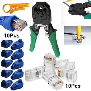 RJ11 RJ45 Network Ethernet Cat6 Cat7 Cable Crimping Tool Stripper Boot Connector