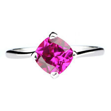 14KT Real White Gold Pink Tourmaline 1.40Ct Cushion Shape Solitaire Women's Ring