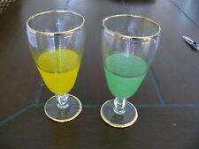 Vintage Glass Water Wine glasses Goblets 70's retro Yellow Green etched gold tri