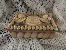 ancienne petite boite en carton et coquillage epoque 1900 shell box