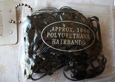 100 BLACK 2.5cm POLYURETHANE HAIR ELASTIC BANDS BRAIDS PLAIT CORNROW PONYTAIL
