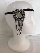 VINTAGE 1920s ART DECO SILVER DIAMANTE BEADED FLAPPER FASCINATOR HEADBAND GATSBY