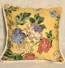 Fresh Farm French Country Cottage Floral Blue Ivory White Pillow Rose