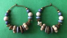 """Multicolored Beaded Hoop 1-1/4"""" Earrings Wire Pierced Fashion Jewelry"""