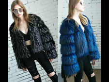 Women Faux Fur Coat Feather Jacket Fluffy Winter Vintage Fluff Warm Outdoor Wear